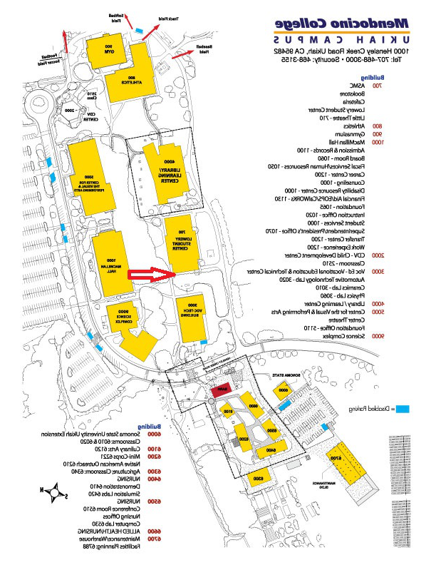 Ukiah campus map with Lowery Center indicated